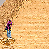 photo: Pyramids People (Panorama Inside) - A young Egyptian girl laughs with a friend near the Pyramid of Khufu (Cheops in Greek).