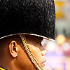 Fuzzy Hat Photo: A member of the Thai Royal Guard awaiting the King's motorcade at the National Palace.