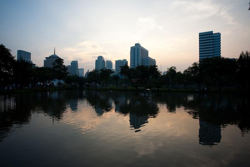 Downtown Lumphini Park Lake Reflection - Bangkok, Thailand - Daily Travel Photos