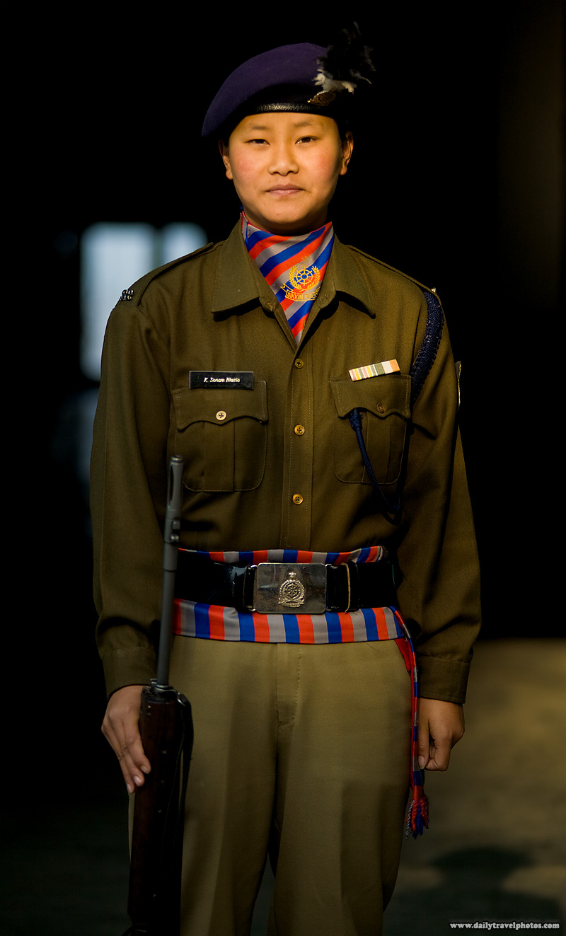 Female Indian Sikkimese Police Uniform Nepali - Gangtok, Sikkim, India - Daily Travel Photos