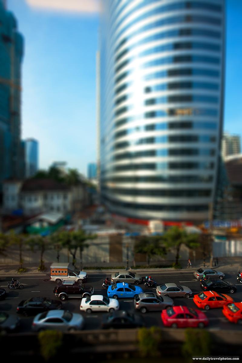 Downtown Traffic Jam Fake Tilt-Shift Effect - Bangkok, Thailand - Daily Travel Photos