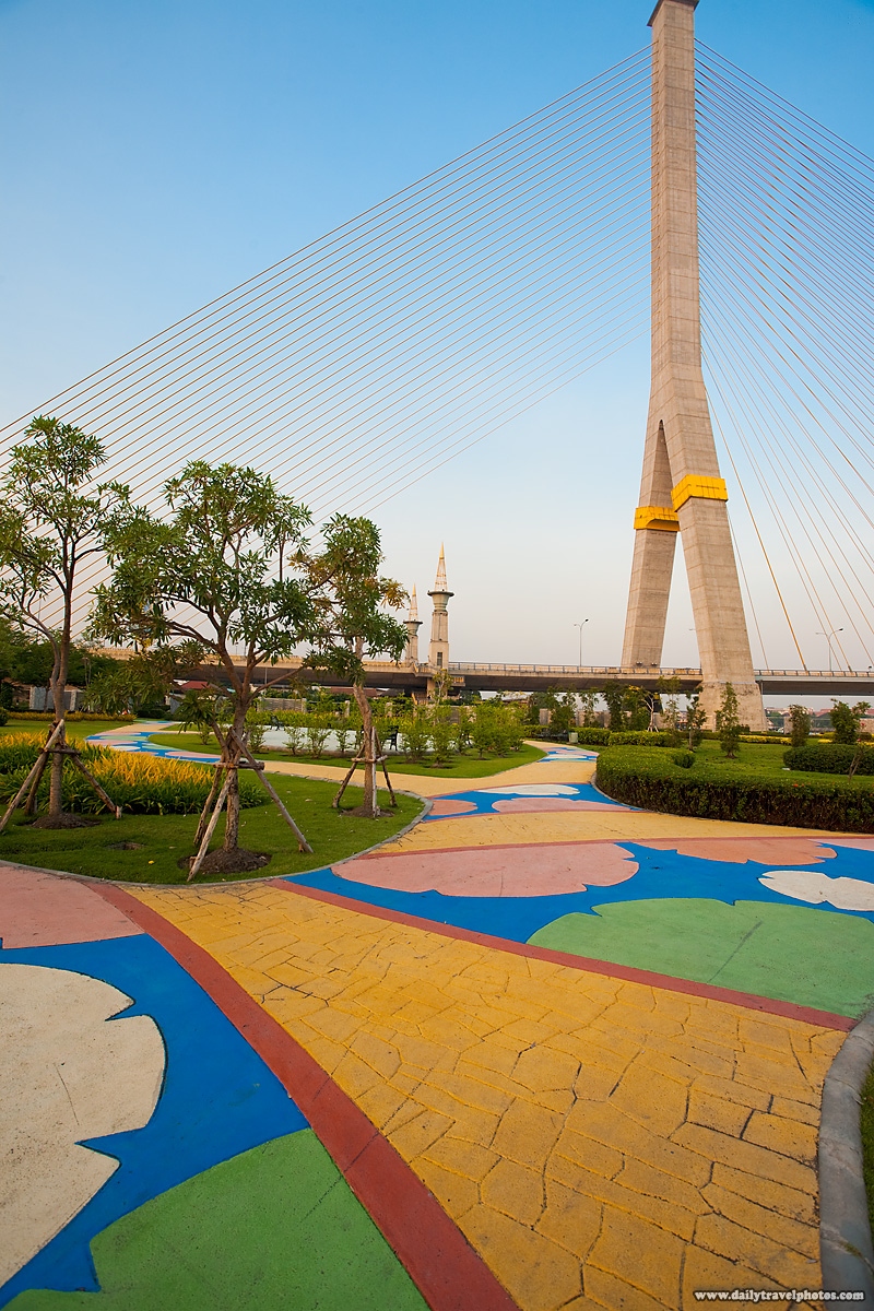 Colorful Path Park Rama II Bridge - Bangkok, Thailand - Daily Travel Photos