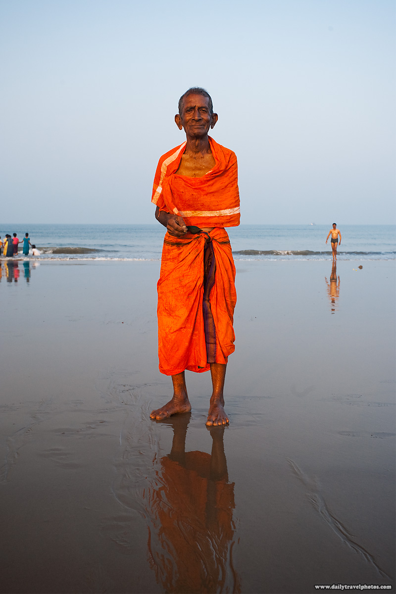 Indian Hindu Devotee Ocean Swim - Gokarna, Karnataka, India - Daily Travel Photos