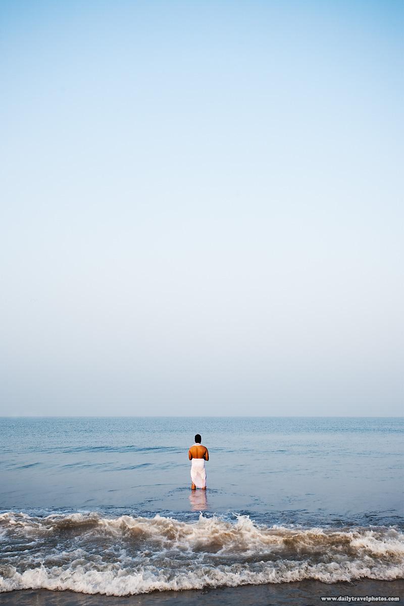 Bathing Hindu Pilgrim Ocean Beach - Gokarna, Karnataka, India - Daily Travel Photos