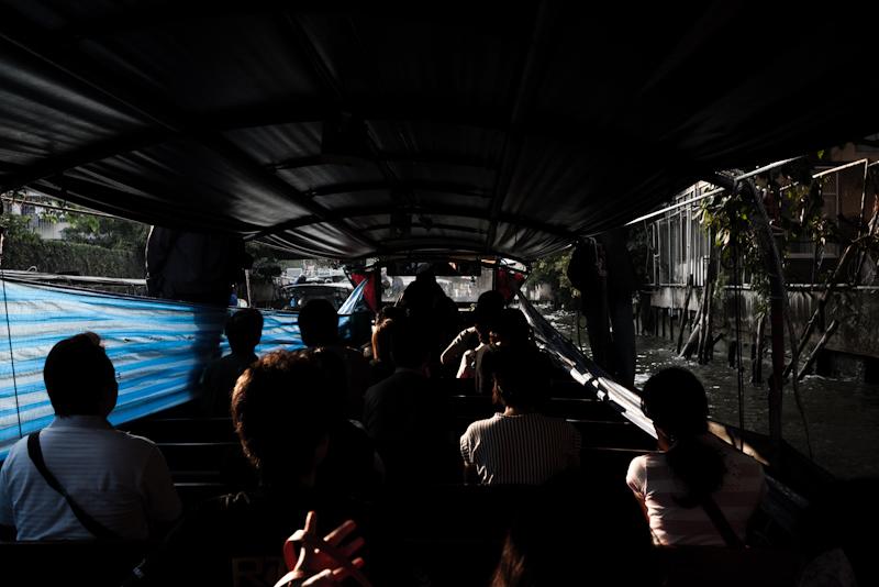 Passengers Canal Boat Public Transportation Khlong Saen Saep - Bangkok, Thailand - Daily Travel Photos