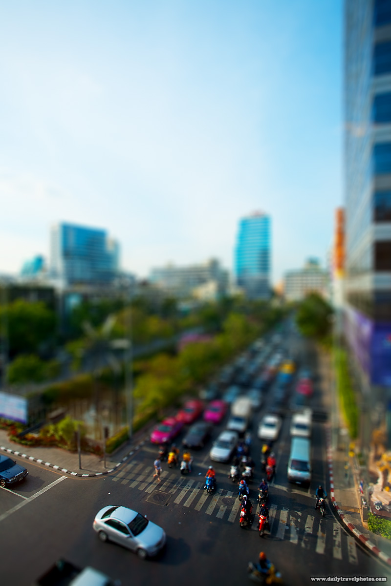 Faux Tilt Shift Traffic Silom Downtown - Bangkok, Thailand - Daily Travel Photos
