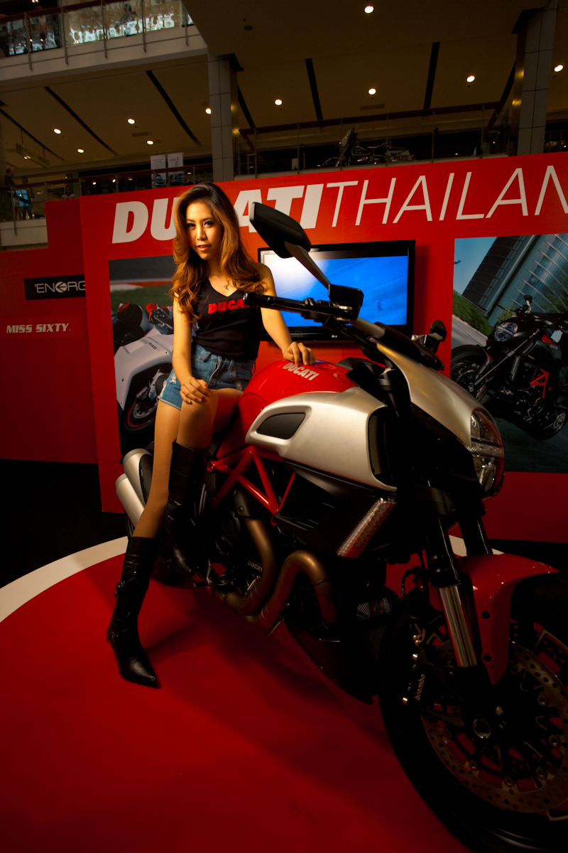Ducati Thailand Cute Thai Model Leaning Motorcycle - Bangkok, Thailand - Daily Travel Photos