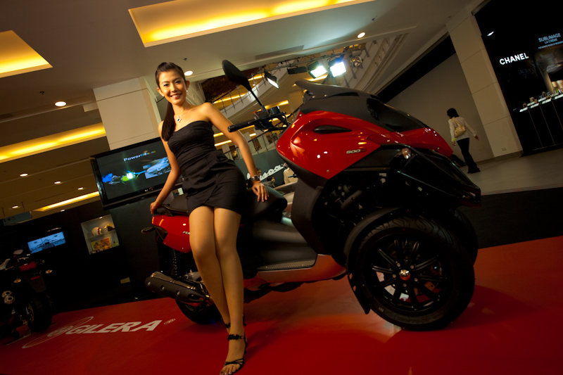 Beautiful Thai Model Motorcycle Show Piaggio Booth Central World - Bangkok, Thailand - Daily Travel Photos