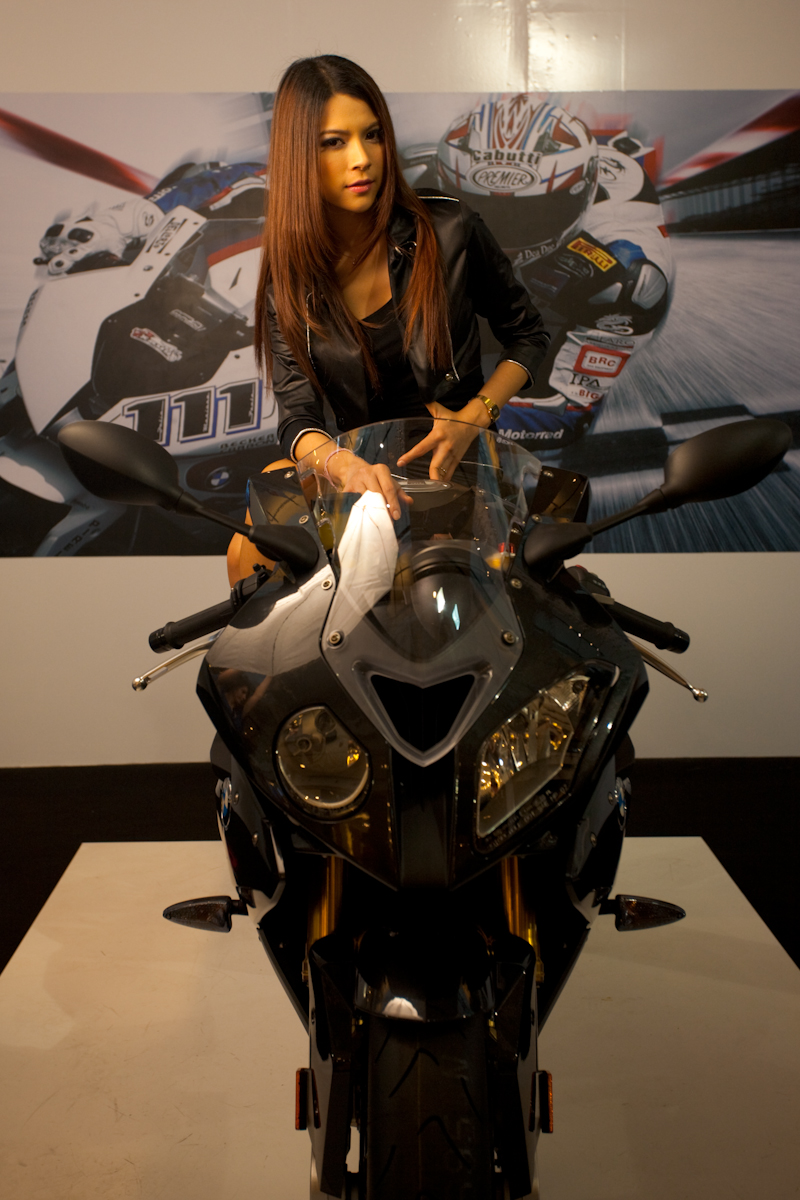 Beautiful Thai Model BMW Booth Motorcycle Show Central World - Bangkok, Thailand - Daily Travel Photos