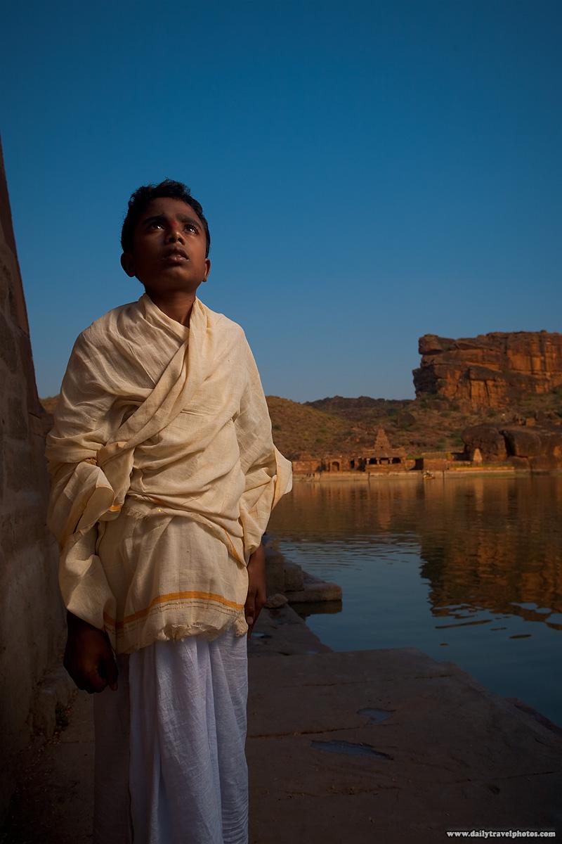 Brahman Priest Temple Reservoir Cliffs - Badami, Karnataka, India - Daily Travel Photos