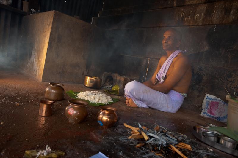 Indian Pilgrim Receiving Blessings Offerings - Gokarna, Karnataka, India - Daily Travel Photos