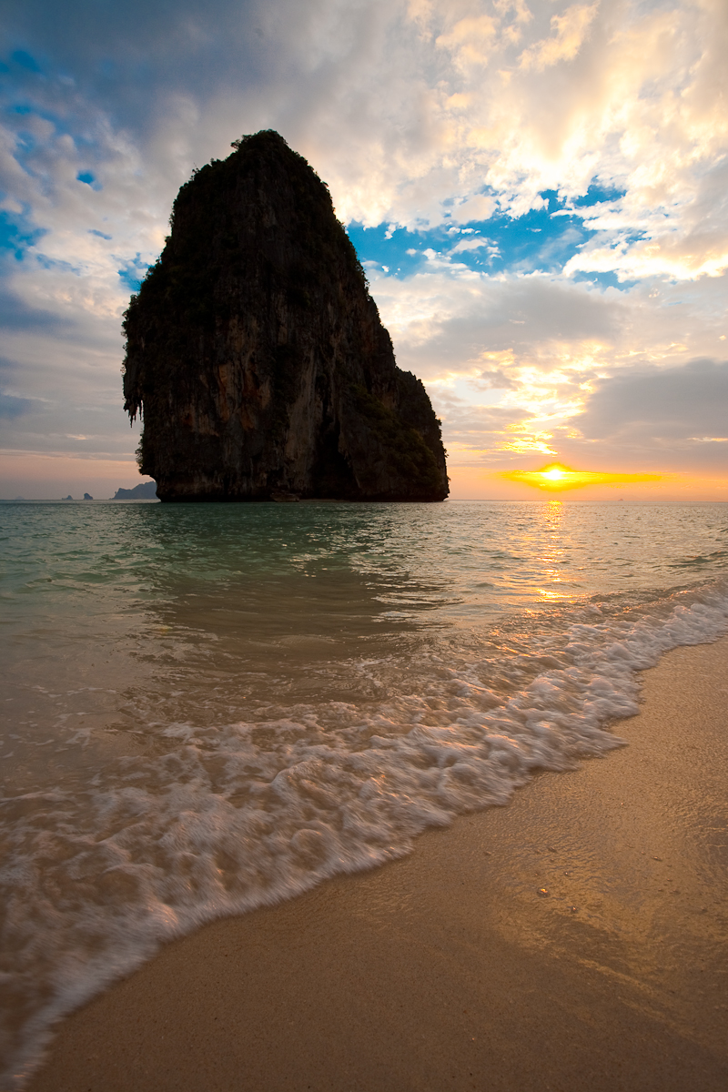 Phranang Beach Karst Limestone Mountain Sunset Breaking Wave - Railay, Thailand - Daily Travel Photos