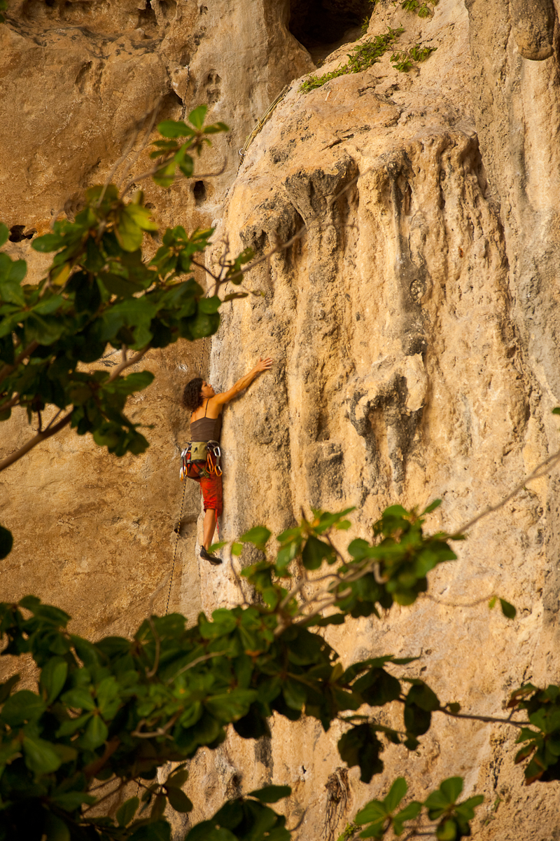 Rock Climbing Woman Phranom Beach - Railay, Thailand - Daily Travel Photos