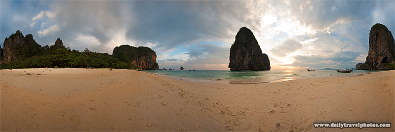Panorama Phranang Beach Sunset Karst Limestone Formations - Railay, Thailand - Daily Travel Photos