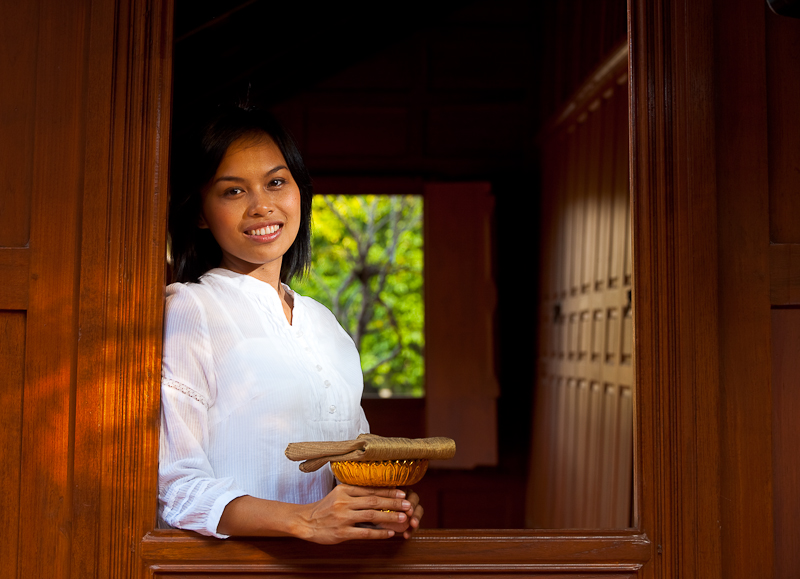 Beautiful Thai Woman In Traditional Thai Teak Wood House - Bangkok, Thailand - Daily Travel Photos