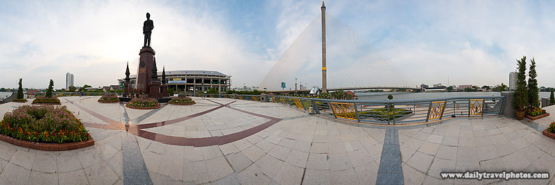 Rama VIII Bridge Local Neighborhood Park Statue Panorama - Bangkok, Thailand - Daily Travel Photos