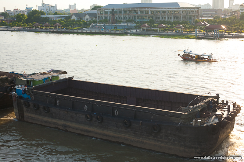 Empty Shipping Barge Tugboat Chao Praya River - Bangkok, Thailand - Daily Travel Photos