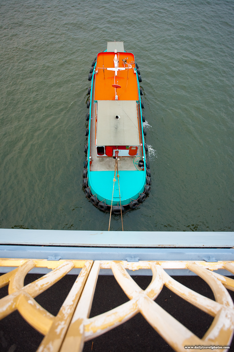 Tugboat Chao Phraya River Rare Overhead View - Bangkok, Thailand - Daily Travel Photos