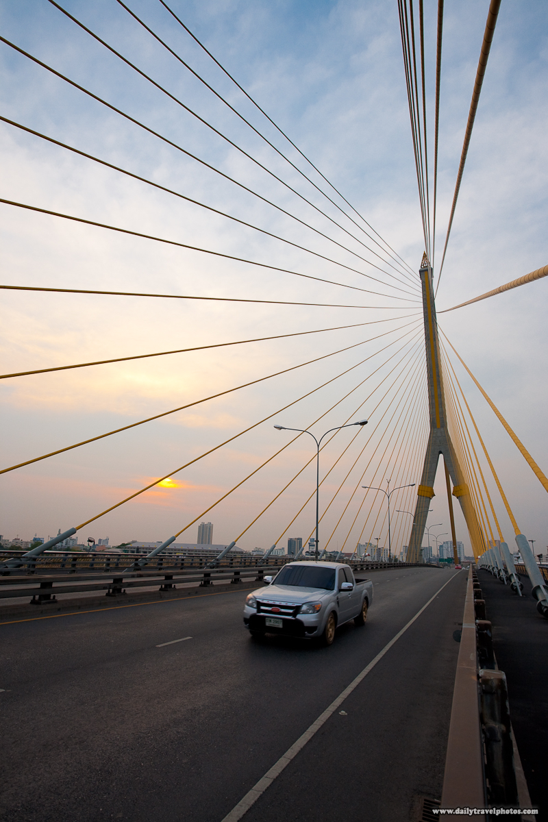 Sunset Rama VIII Bridge Cable-Stayed Suspension Deck Tower - Bangkok, Thailand - Daily Travel Photos