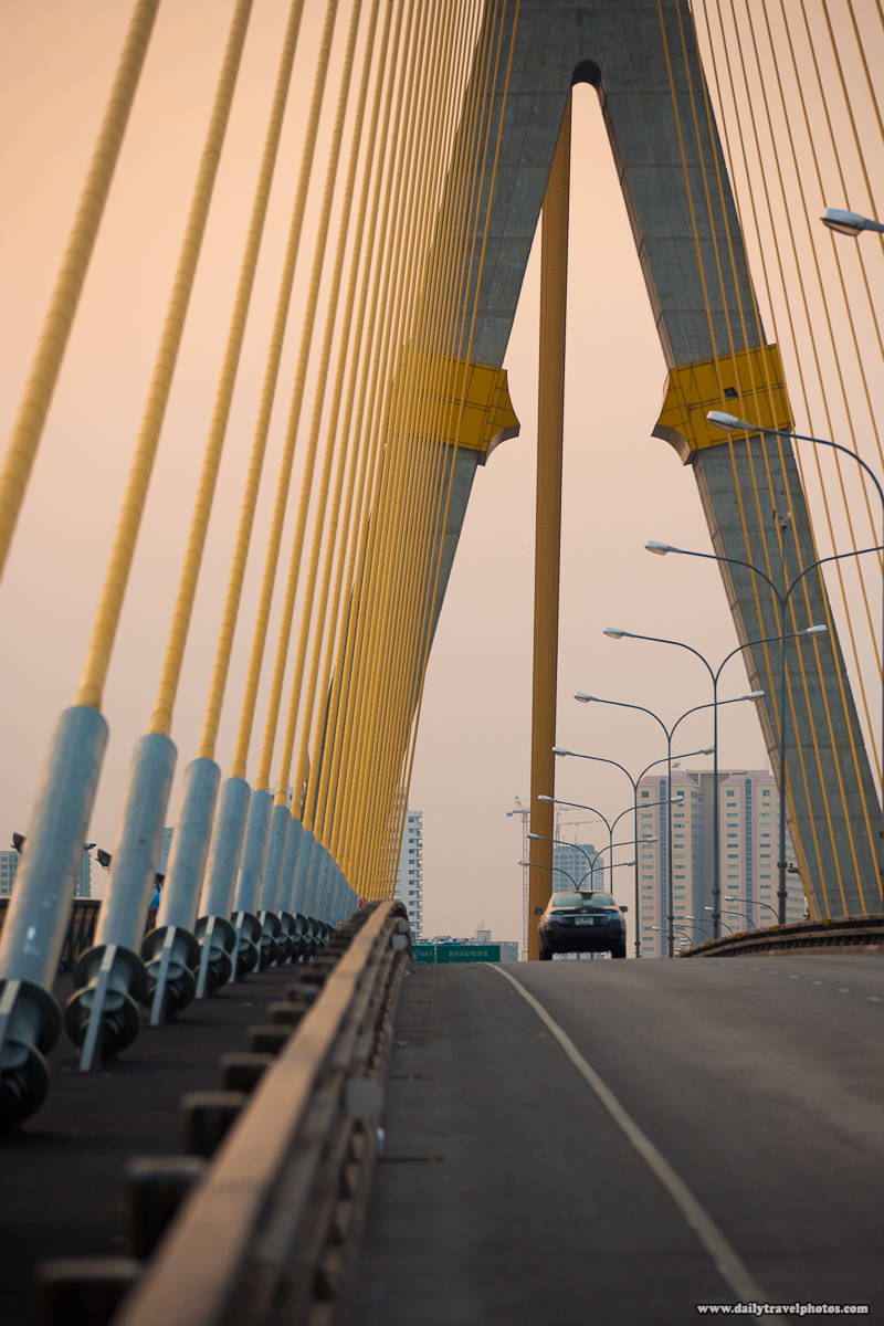 Sunset Rama VIII Cable-Stayed Suspension Bridge Deck Car - Bangkok, Thailand - Daily Travel Photos