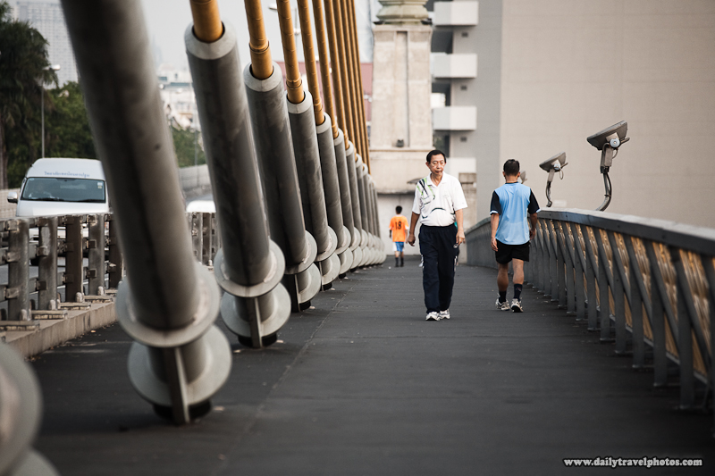 Thai Locals Evening Stroll Rama VIII Bridge - Bangkok, Thailand - Daily Travel Photos