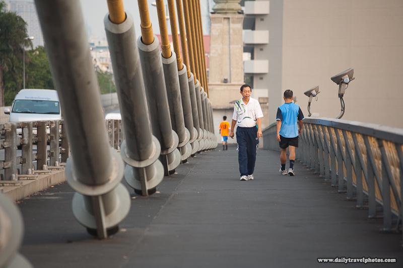 Pre-processed Version Thai Locals Evening Stroll Rama VIII Bridge - Bangkok, Thailand - Daily Travel Photos