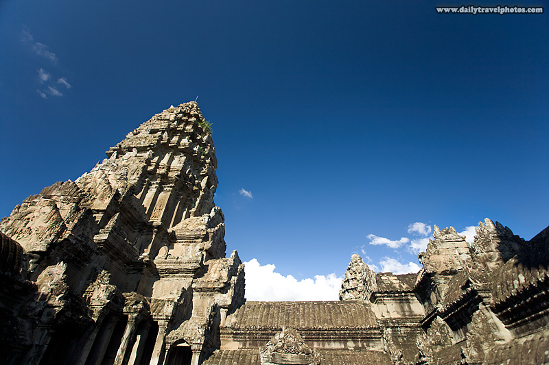 Central Tower Angkor Temple Clear Sky Closeup - Siem Reap, Cambodia - Daily Travel Photos