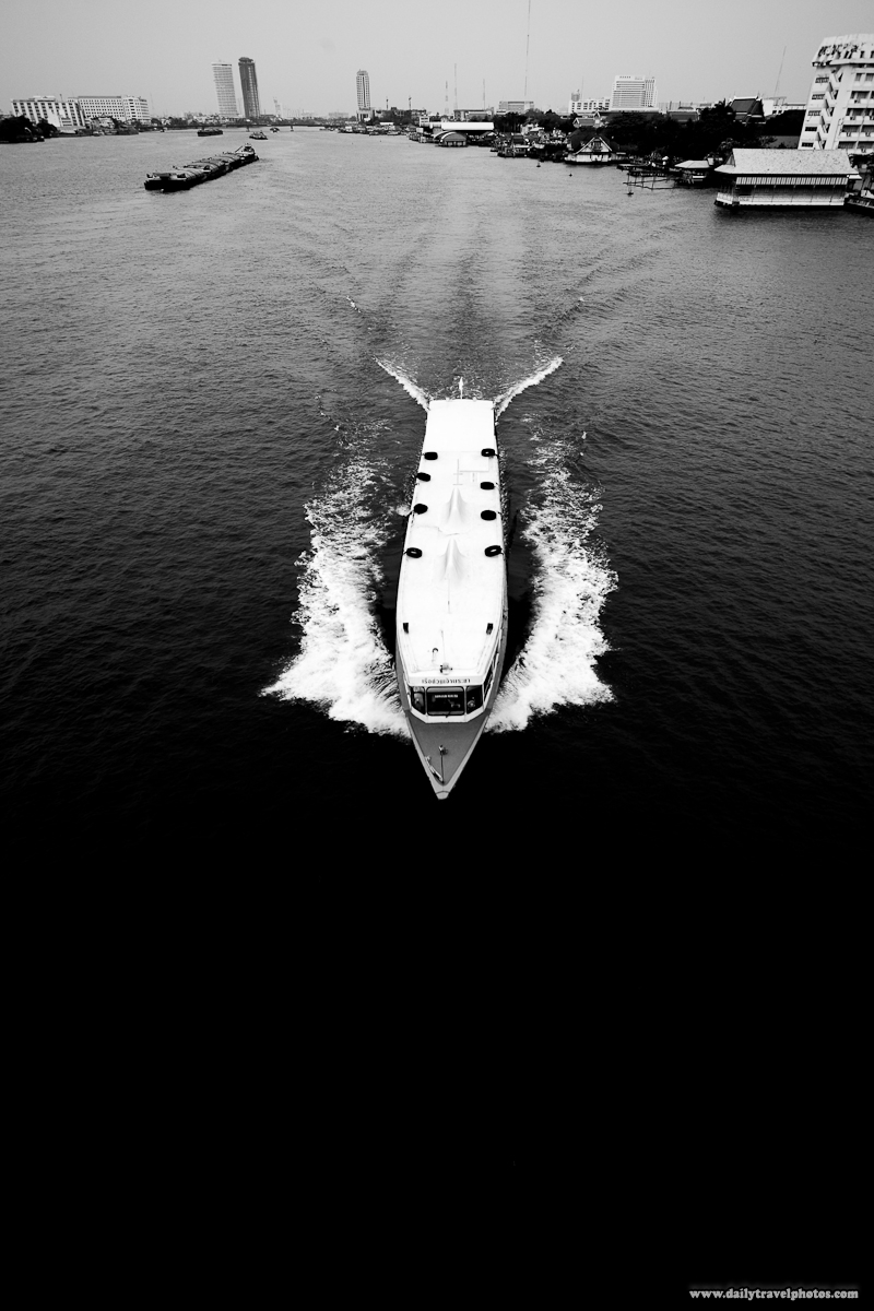 Black White Chao Phraya River Boat Express Overhead Top-Down View - Bangkok, Thailand - Daily Travel Photos