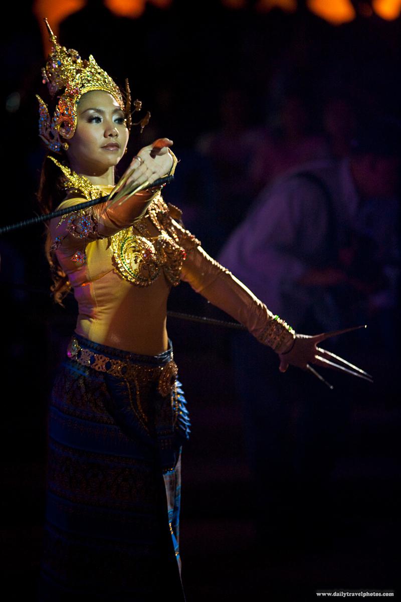 Female Thai Traditional Dancer Control Poles - Bangkok, Thailand - Daily Travel Photos