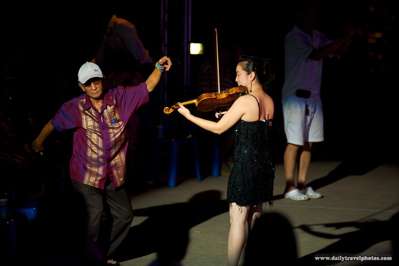Old Thai Man Dancing Female Violinist Musician Show Night - Bangkok, Thailand - Daily Travel Photos