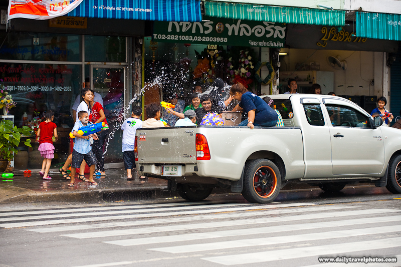Songkran Water Festival Fight Pickup Truck Drive By - Bangkok, Thailand - Daily Travel Photos