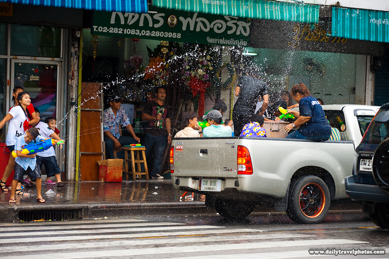 Songkran Thai New Year Water Fight Festival Truck Sidewalk Children - Bangkok, Thailand - Daily Travel Photos