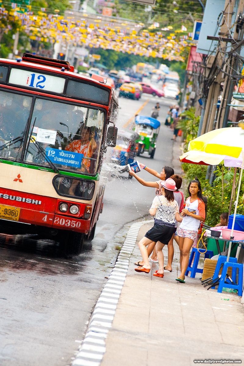 Public Bus Splash Songkran Water Festival Thai New Year - Bangkok, Thailand - Daily Travel Photos