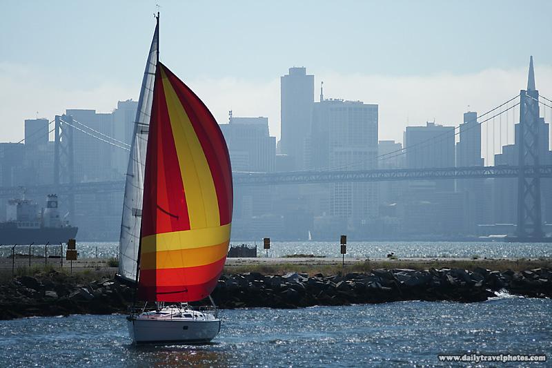 Sailboat Bay Bridge City Skyline - San Francisco, California, USA - Daily Travel Photos