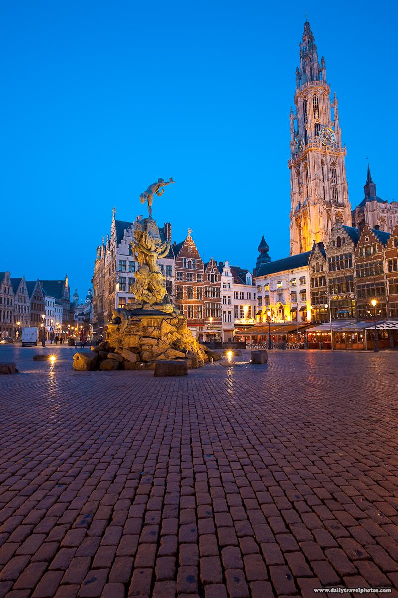 Historic Architecture Grote Markt Brabo Church Our Lady Onze Lieve Vrouwekerk Dusk - Antwerp, Belgium - Daily Travel Photos