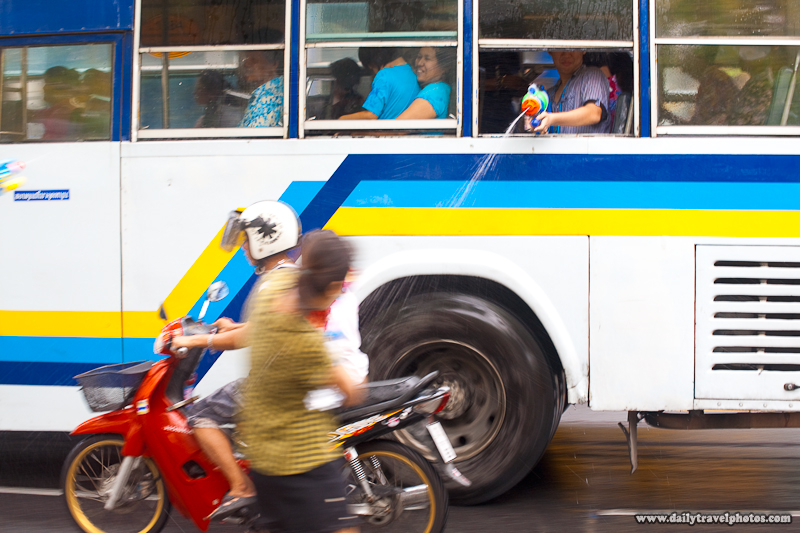Bus Passenger Moving Fights Back Water Gun Songkran Festival - Bangkok, Thailand - Daily Travel Photos