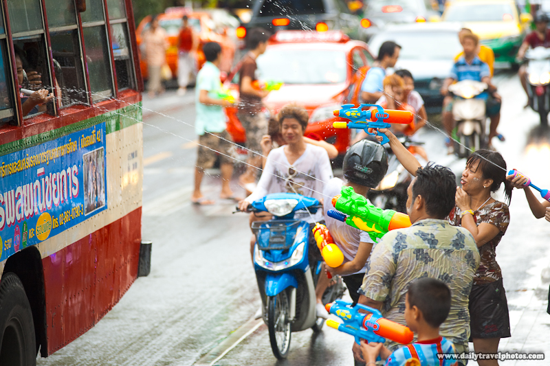 Songkran Water Festival Bus Attack Window - Bangkok, Thailand - Daily Travel Photos