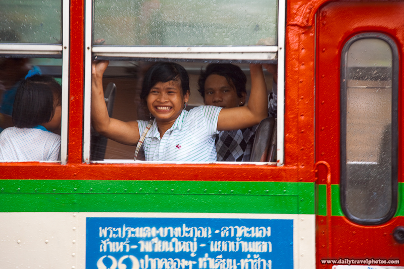 Songkran Festival Bus Passenger Desperately Closing Window Avoid Water Shooting  - Bangkok, Thailand - Daily Travel Photos
