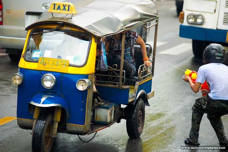 Songkran Water Fight Tuk-Tuk Attack - Bangkok, Thailand - Daily Travel Photos