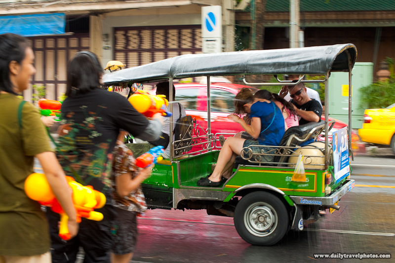 Songkran Water Fight Foreign Tourists Inside Tuk-Tuk Under Attack - Bangkok, Thailand - Daily Travel Photos