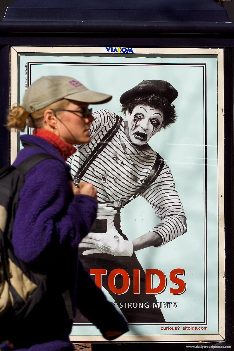Bus Stop Altoids Advertisement Featuring Mime Disgusted At Walking Lady- San Francisco, California, USA - Daily Travel Photos