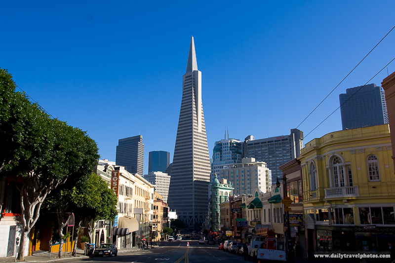 Daytime View Transamerica Building Down Columbus Avenue North Beach Neighborhood Pre-Processed - San Francisco, California, USA - Daily Travel Photos