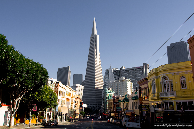 Daytime View of Transamerica Building Down Columbus Avenue North Beach - San Francisco, California, USA - Daily Travel Photos