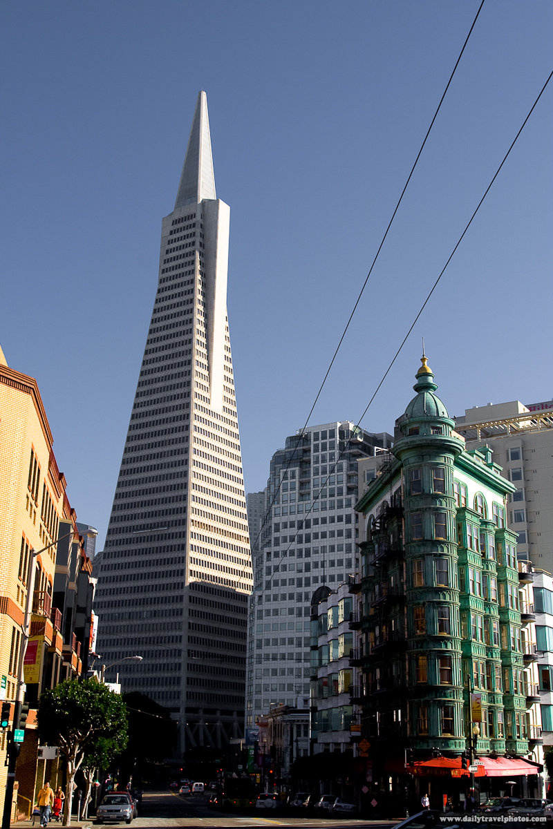 Looking Down Columbus Avenue At Transamerica Building and Green Columbus Tower Downtown - San Francisco, California, USA - Daily Travel Photos