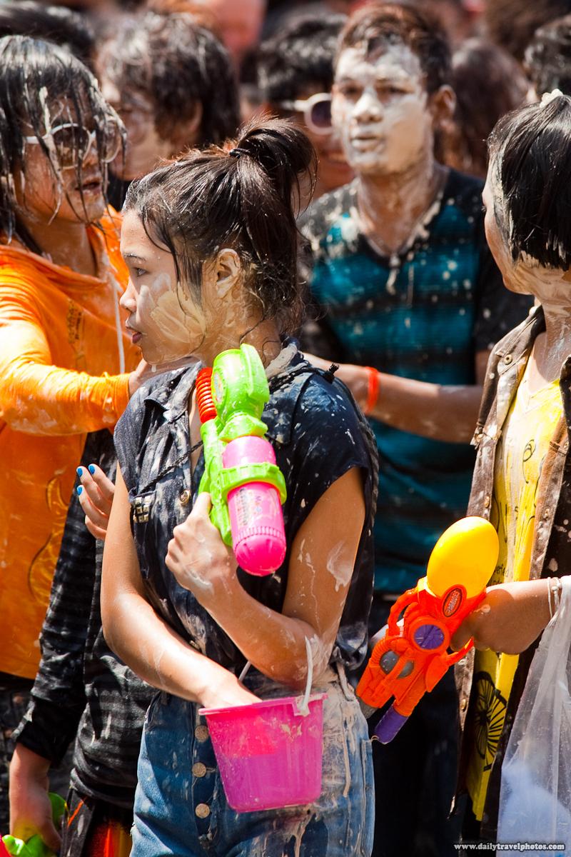 Thais Walking During Songkran, Thai New Year, Covered With White Talcum Powder Paste - Bangkok, Thailand - Daily Travel Photos