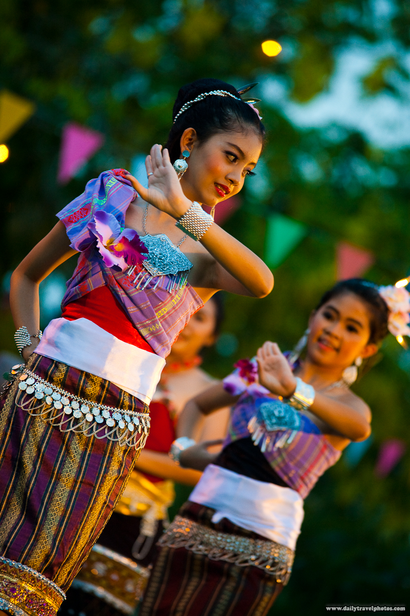 Cute Young Thai Girl Dancing In Native Costume During Songkran Water Festival - Bangkok, Thailand - Daily Travel Photos