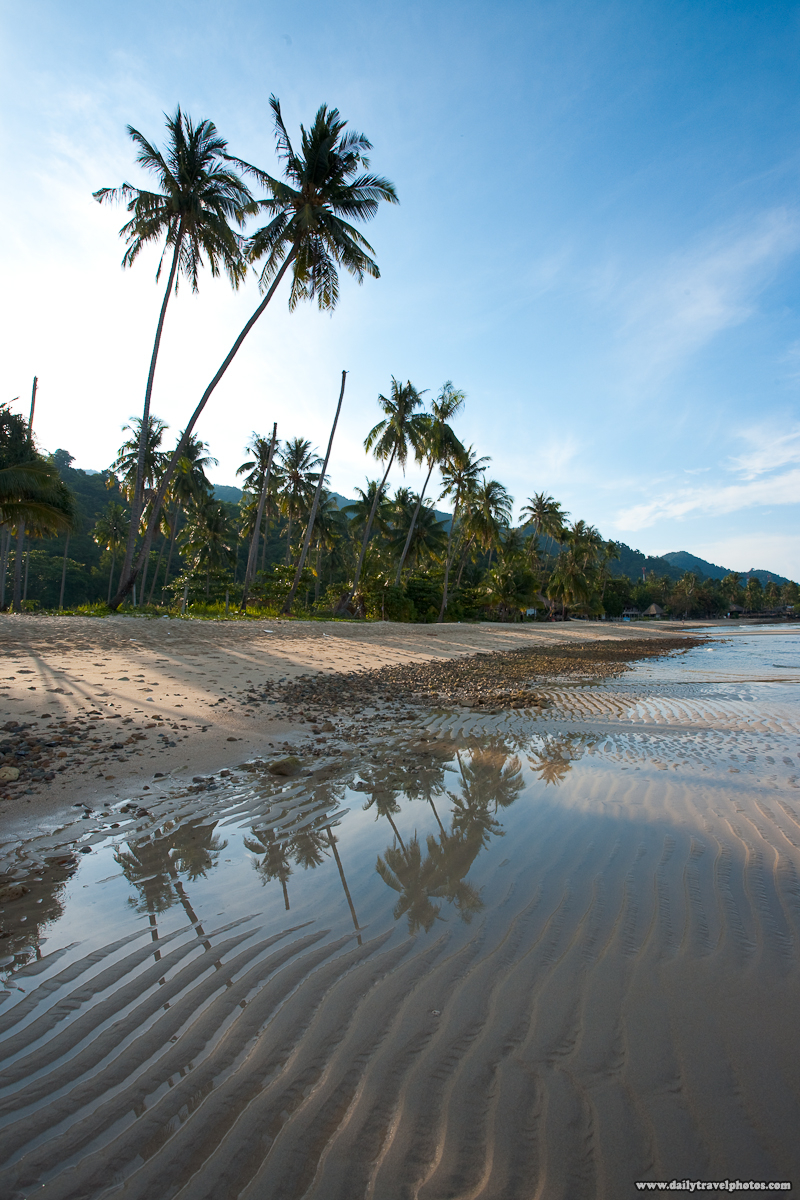 Palm Trees Lined Empty Serene Lonely Beach Before Processing - Ko Chang, Thailand - Daily Travel Photos