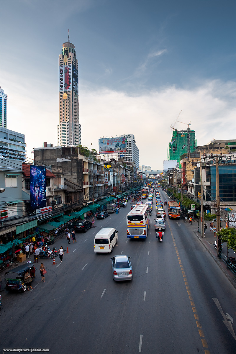 Baiyoke Tower Tallest Building In Bangkok And Street Traffic - Bangkok, Thailand - Daily Travel Photos
