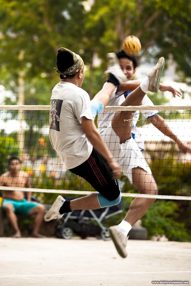 Guys Playing Takraw Thai Foot Volleyball - Bangkok, Thailand - Daily Travel Photos