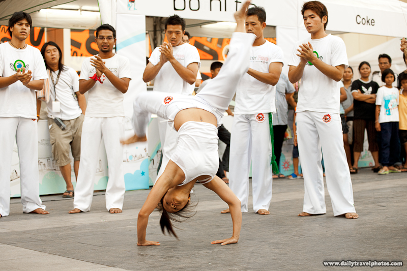 Thai Girl Back Handspring During Capoeira Performance at Central World Mall - Bangkok, Thailand - Daily Travel Photos